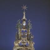 铜镀金山羊驮塔式转花嵌表