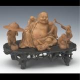 黄杨木雕六子戏弥勒