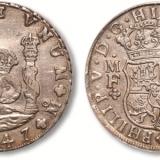 西班牙地球双柱银币图片及价格