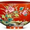 清代雍正珊瑚红地珐琅彩过墙枝花鸟纹大碗