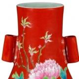 清雍正珊瑚红地粉彩牡丹纹贯耳穿带橄榄瓶