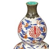 雍正洋彩矾红描金福寿云纹连座葫芦瓶
