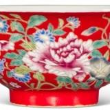 雍正粉彩红地牡丹花卉纹碗