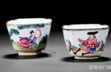 清嘉庆铜胎画珐琅人物倭角杯一对,中西合璧的神器