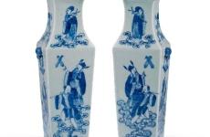 清豆青釉青花八仙人物方瓶一对