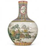 雍正 粉彩描金山水纹天球瓶
