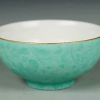 清雍正松石绿釉暗刻花卉纹碗