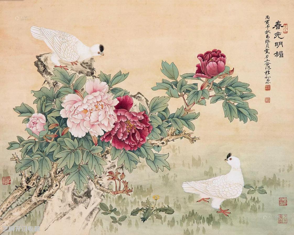 俞致贞工笔花鸟画欣赏
